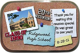 Unfilled Bulletin Board Class Reunion Mint Tins personalized with your school photo, name, year and colors