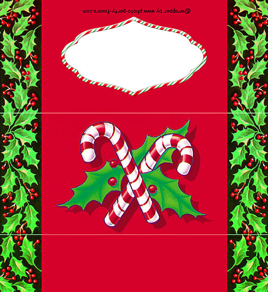 holly and candy canes free printable 155 oz candy bar wrapper ready to personalize
