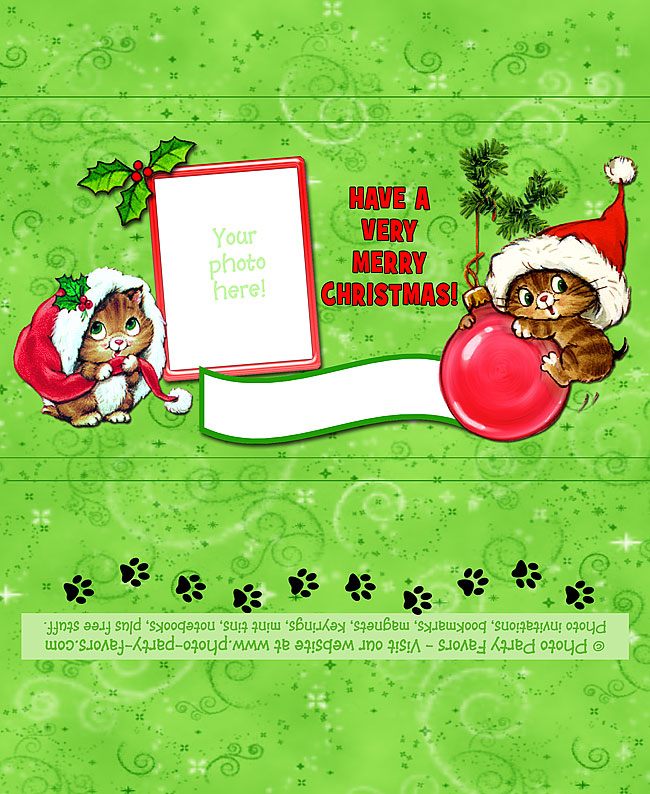 Christmas Kittens Free Printable Candy Bar Wrapper, ready to personalize with your photo and message.