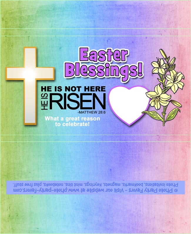 Easter Cross Free Printable Candy Bar Wrapper, fits large 5 oz. Hershey bar, ready to personalize. Sweet way to share your faith at Easter!