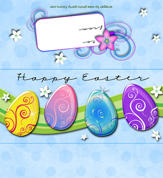 Easter Eggs Free Printable Candy Bar Wrapper, ready to personalize with your  message.