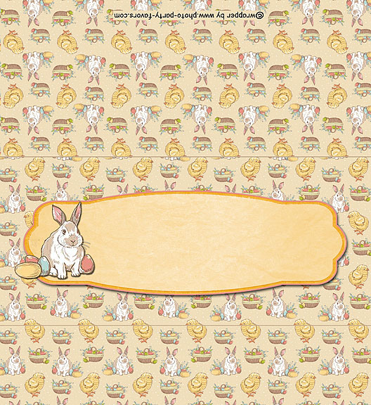 Free Printable Easter Candy Bar Wrapper, features a pattern with Easter bunnies, chicks, eggs and baskets with room to write your message on the front. Easy instructions for a standard 1.5 oz chocolate bar.