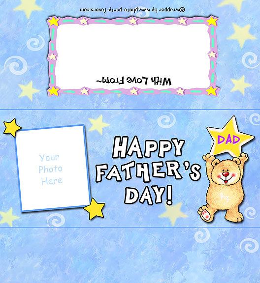 Father's Day Free Printable Photo Candy Bar Wrapper, ready to personalize with your  message.