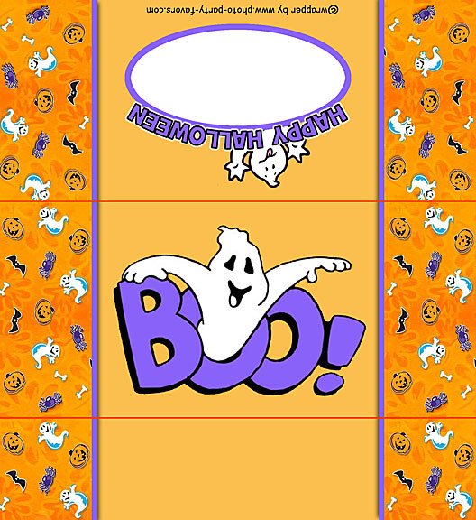 Free Printable Halloween Ghost Candy Bar Wrapper, ready to personalize with your  message.