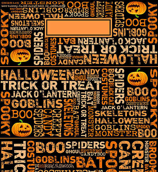 Free Printable Halloween Subway Art Candy Bar Wrapper, ready to personalize with your  message.