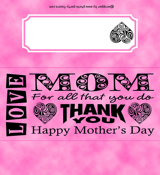 mothers day free printable candy bar wrapper with bold word art message ready to personalize