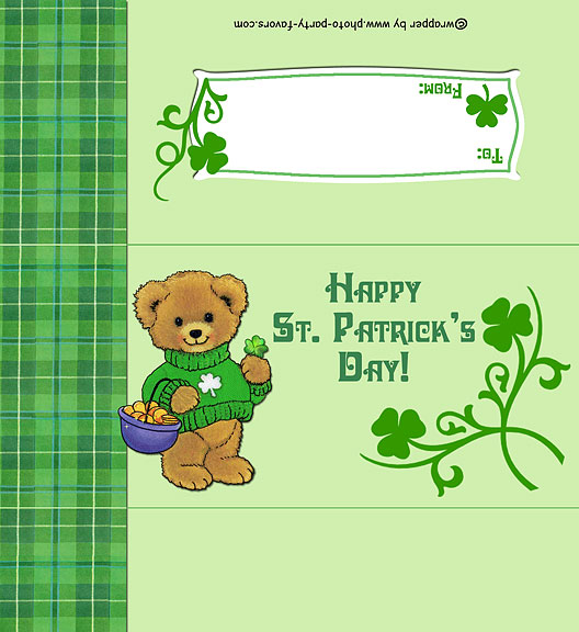 Free Printable St. Patrick's Day Teddy Bear Candy Bar Wrapper www.photo-party-favors.com (fits a 1.55 oz. bar), ready to personalize with your  message.