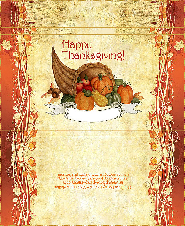 Cornucopia Thanksgiving Free Printable Candy Bar Wrapper, ready to personalize.