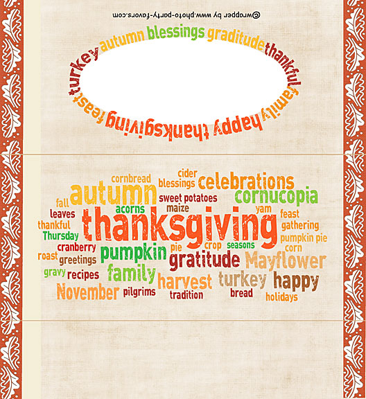 Free Printable Thanksgiving Word Art Candy Bar Wrapper, ready to personalize with your  message.