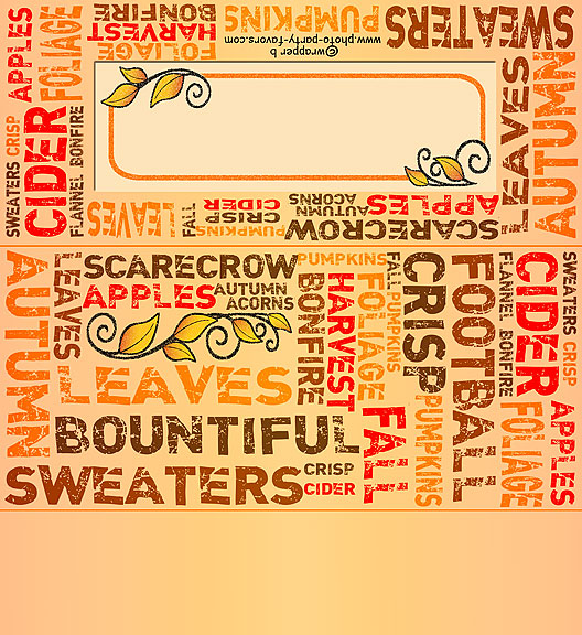 Free Printable Autumn Subway Art Candy Bar Wrapper, ready to personalize with your  message.