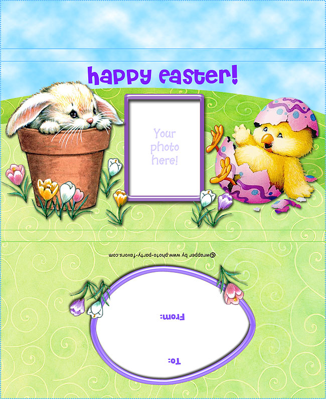 Easter Bunny and Chick Free Printable Candy Bar Wrapper, ready to personalize with your photo and message.