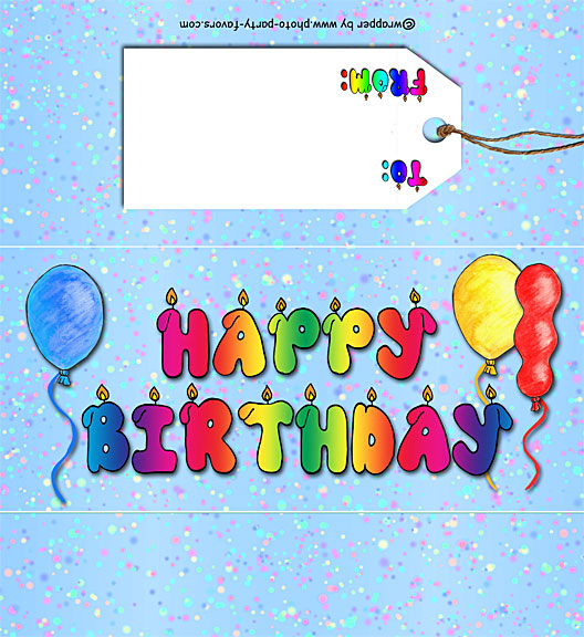 Free Printable Happy Birthday Candy Bar Wrapper, ready to personalize with your  message.