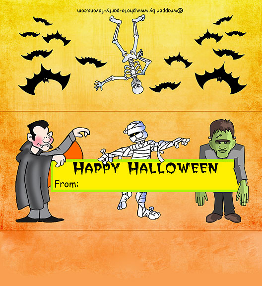 Monsters Halloween Free Printable Candy Bar Wrapper, ready to personalize with your  message.