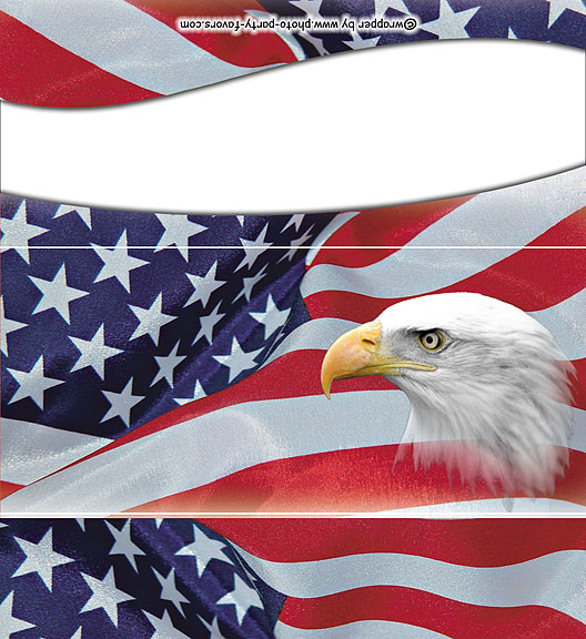 Flag and Eagle Patriotic Free Printable Candy Bar Wrapper, ready to personalize with your  message.