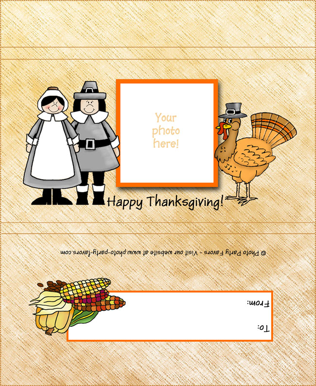Pilgrims Thanksgiving Free Printable Candy Bar Wrapper, ready to personalize.