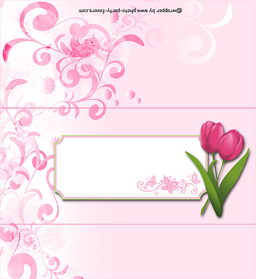 Spring Tulips Free Printable 1.55 oz. Candy Bar Wrapper, ready to personalize with your  message.