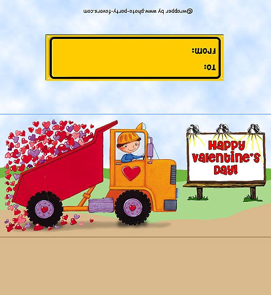 On The Road free printable candy bar wrapper (for 1.55 oz. bar), ready to personalize with your message. Features a boy with hearts in a dump truck.