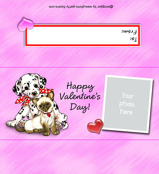 Kitty and Puppy Photo Valentine's Day Candy Bar Wrapper ...