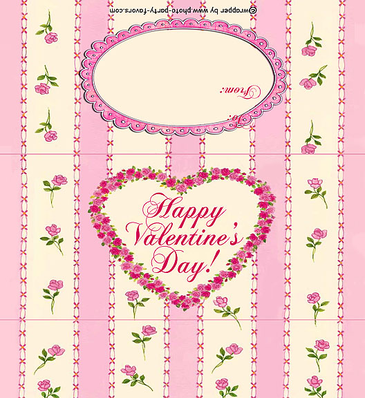 Pink Roses Valentine Free Printable 1.55 oz. Candy Bar Wrapper, ready to personalize with your  message.