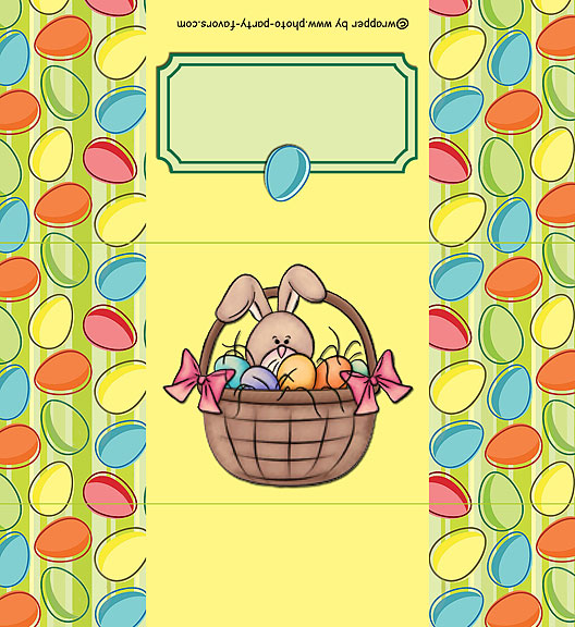 Free Printable Easter Candy Bar Wrapper, features a bunny in a basket and an Easter egg border. It fits a 1.5 oz chocolate bar and is ready to personalize with your message on back.