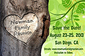 Carved Tree Family Reunion Save the Date Cards