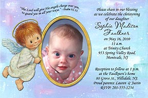 Photo christening invitations photo baptism invitations photo send us 1 favorite photo with your message and personalization can be made into a photo baptism invitation or thank you stopboris Choice Image