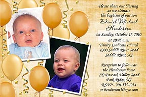 Gold Balloons Photo Christening Invitation