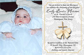 Gold Cross Christening Invitation
