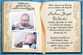 Photo baptism invitations photo christening invitations photo send us 2 of your favorite photos with your message and personalization can be made into a photo baptism invitation or thank you filmwisefo
