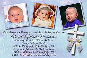 White Cross Photo Christening Invitation