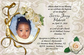 Photo christening invitations photo baptism invitations photo ark photo christening invitation white roses christening invitation stopboris Image collections