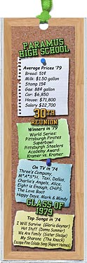 Bulletin Board class reunion bookmark favors are personalized with your school name and colors with fun facts from the year you graduated.