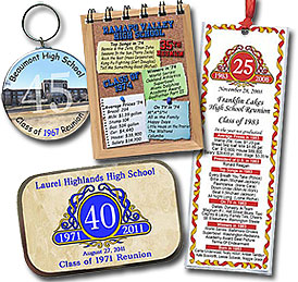 Ideas for class reunion favors - personalized bookmarks, notebooks, mint tins, key chains, magnets, buttons and pocket mirrors make great keepsakes for your classmates. You can even include a photo of your old school!