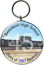 Class reunion key chain favors in School Photo design are personalized with your school photo name, graduating year