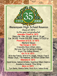 Class reunion 3 x 4 inch magnet favors in Classic Emblem design are personalized with your school name and colors with fun facts from the year you graduated.