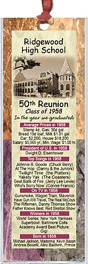 Marble class reunion bookmark favors are personalized with your school name and colors with fun facts from the year you graduated.
