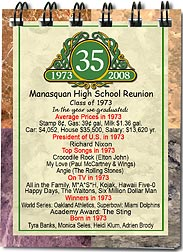 Classic Emblem class reunion pocket notebook favors are personalized with your school name and colors with fun facts from the year you graduated.