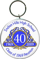 Class reunion key ring favors in Classic Emblem design are personalized with your school name, colors and year.