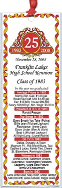 Classic Emblem class reunion bookmark favors are personalized with your school name and colors with fun facts from the year you graduated.