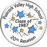 Class reunion magnet favors in Starburst design are personalized with your school name, colors and year.