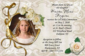 Chalice Photo Communion Invitation, White Roses Photo Communion Invitations