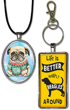 Original wearable dog art jewelry: necklaces, pendants & keychains; is a great gift for anyone who loves dogs.
