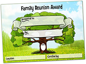 Free Printable Family Reunion Award Certificates, plus over 60 ideas for family reunion award categories at http://www.photo-party-favors.com