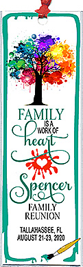Family reunion bookmark favors in the Work of Heart design are personalized with your family name and reunion date & place.