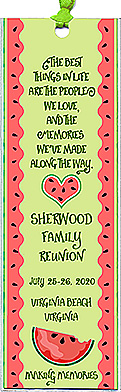 Family reunion bookmark favors in the Best Things In Life design are personalized with your family name and reunion date.