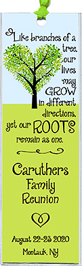 Family reunion bookmark favors in the Branches design are personalized with your family name, reunion date and place.