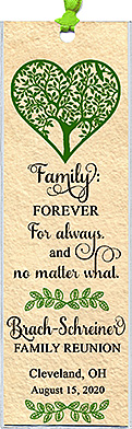 Family reunion bookmark favors in the Family Forever design are personalized with your family name and reunion date & place.