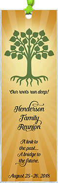 Family reunion bookmark favors in the Roots design are personalized with your family name and reunion date.