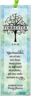 Family reunion bookmark favors in the Tree Monogram design are personalized with your family name and reunion date.