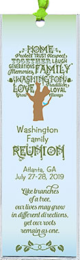 Word Art Tree family reunion bookmark favors are personalized with your family name in the tree, plus reunion date & place.